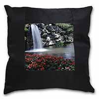 Tranquil Waterfall Black Border Satin Feel Cushion Cover+Pillow Insert