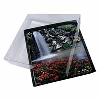 4x Tranquil Waterfall Picture Table Coasters Set in Gift Box