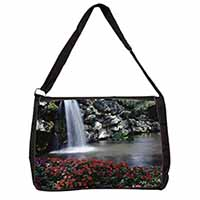 Tranquil Waterfall Large Black Laptop Shoulder Bag School/College