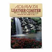 Tranquil Waterfall Single Leather Photo Coaster Perfect Gift