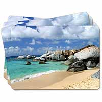 Tropical Seychelles Beach Picture Placemats in Gift Box