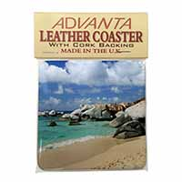 Tropical Seychelles Beach Single Leather Photo Coaster Perfect Gift