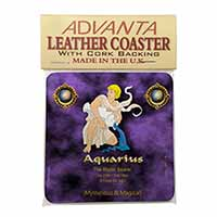 Aquarius Star Sign Birthday Gift Single Leather Photo Coaster Perfect Gift
