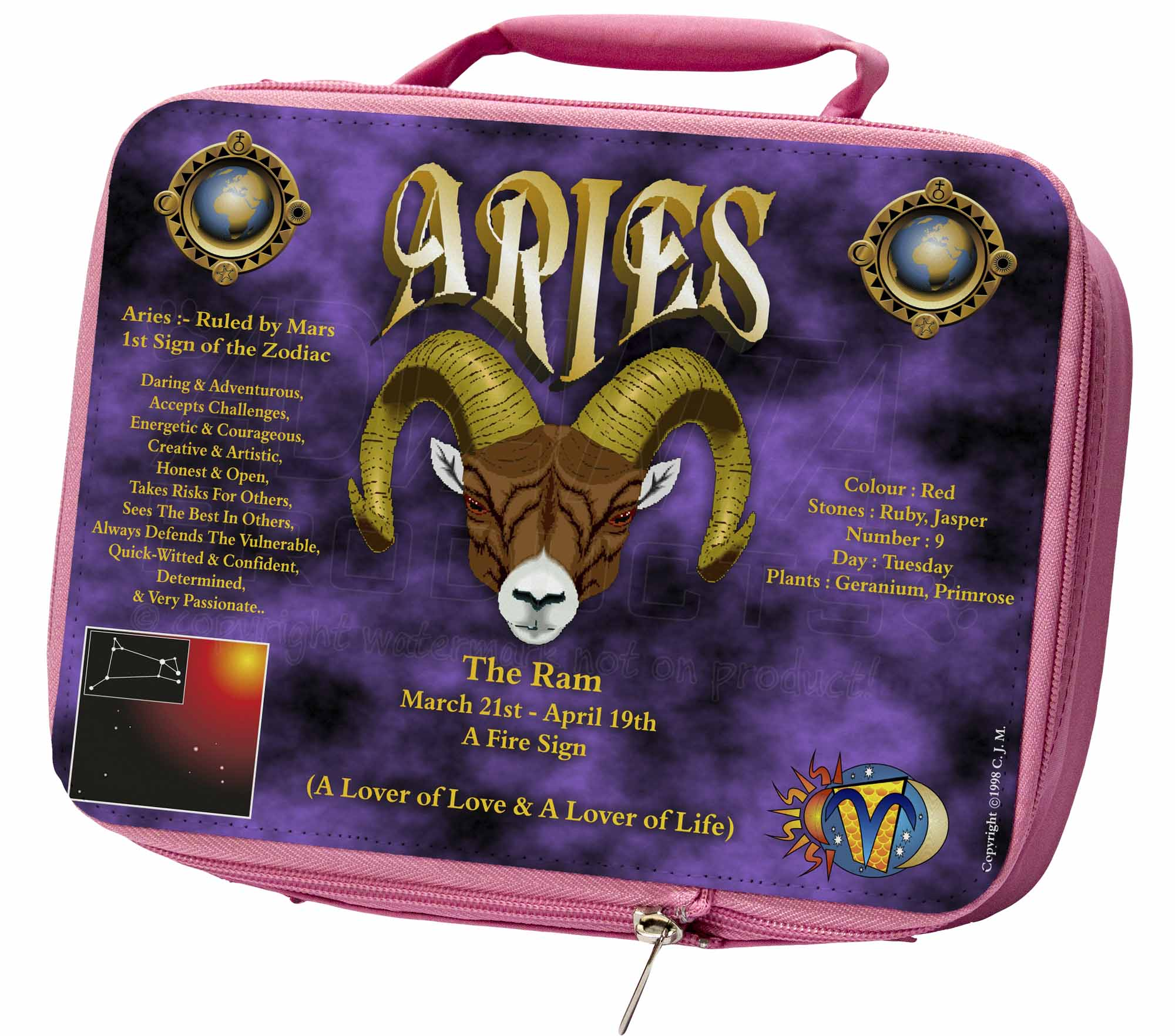Details about Aries Astrology Star Sign Birthday Gift Insulated Pink School  Lunch Bo, ZOD-1LBP