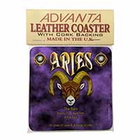 Aries Astrology Star Sign Birthday Gift Single Leather Photo Coaster Animal Bree