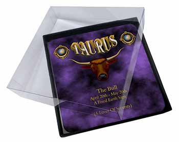 4x Taurus Star Sign Birthday Gift Picture Table Coasters Set in Gift Box