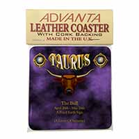 Taurus Star Sign Birthday Gift Single Leather Photo Coaster Perfect Gift