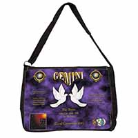 Gemini Star Sign Birthday Gift Large Black Laptop Shoulder Bag School/College