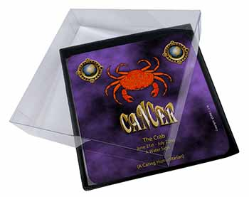 4x Cancer Star Sign Birthday Gift Picture Table Coasters Set in Gift Box
