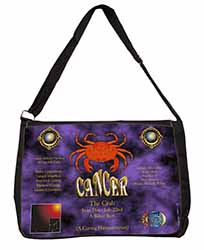 Cancer Star Sign Birthday Gift Large Black Laptop Shoulder Bag School/College