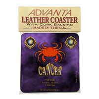 Cancer Star Sign Birthday Gift Single Leather Photo Coaster Perfect Gift