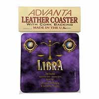 Libra Star Sign of the Zodiac Single Leather Photo Coaster Perfect Gift