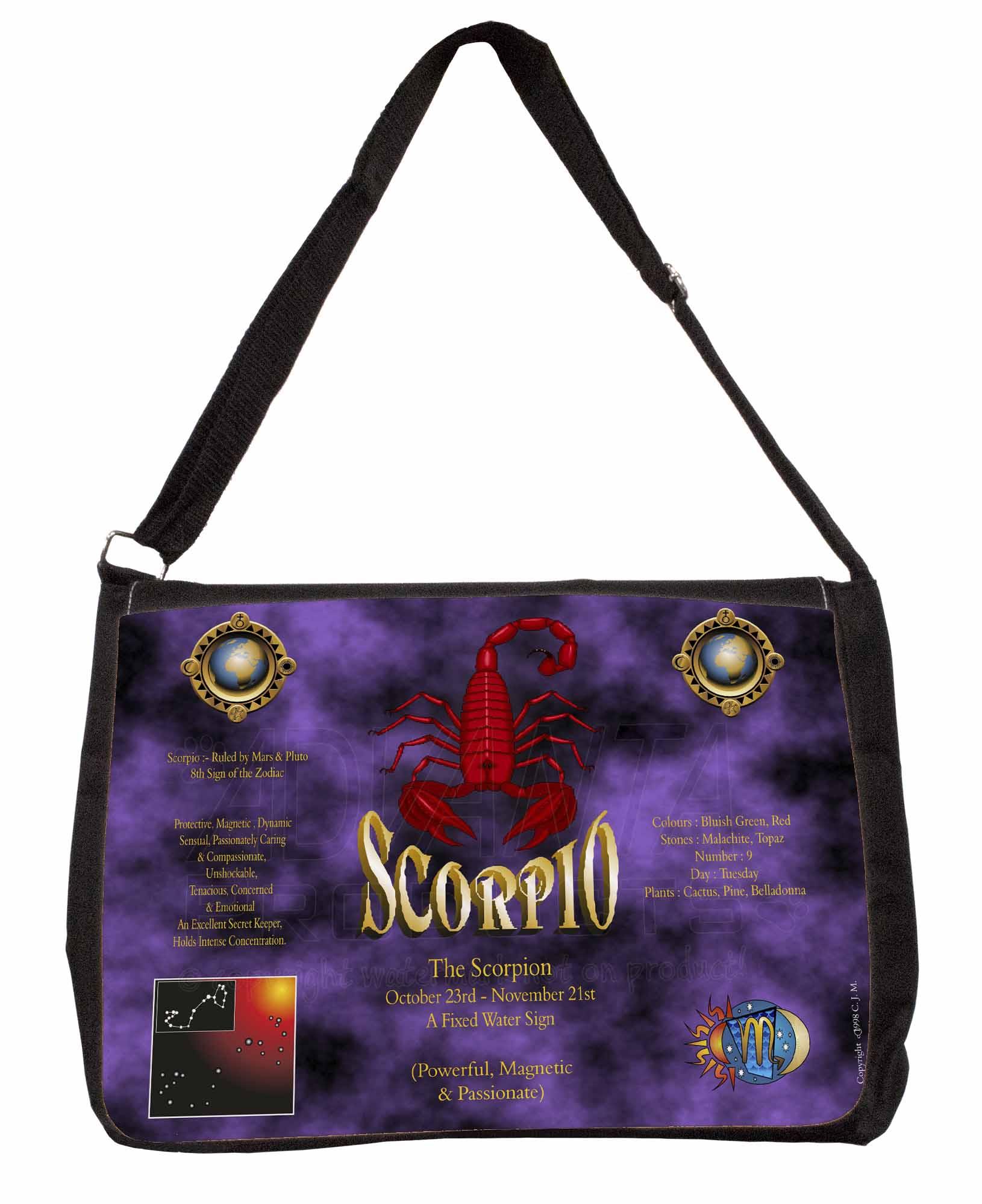 Details about Scorpio Star Sign of the Zodiac Large Black Laptop Shoulder  Bag School/, ZOD-8SB