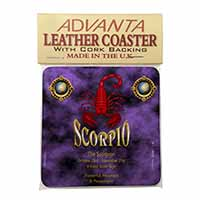 Scorpio Star Sign of the Zodiac Single Leather Photo Coaster Perfect Gift