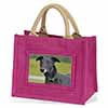 Black Greyhound Dog Little Girls Pink Shopping Bag