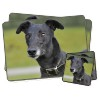 Black Greyhound Dog Twin Placemat and Coasters Set