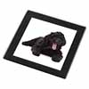 Black Labradoodle Dog Glass Coaster with Black Rim
