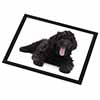 Black Labradoodle Dog Glass Placemat with Black Rim