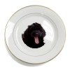 Black Labradoodle Dog Gold Leaf Rim Plate n Gift Box
