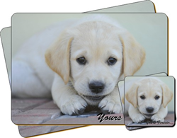 "Labrador Puppy ""Yours Forever…"" Sentiment Leather Coaster and Placemat Gift Set"