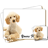 "Cockerpoodle Dog ""Yours Forever"" Sentiment Leather Coaster and Placemat Gift Set"