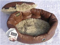 Small Do Not Disturb Luxury Dog Bed Brown Croc Leatherette and Fur Lining