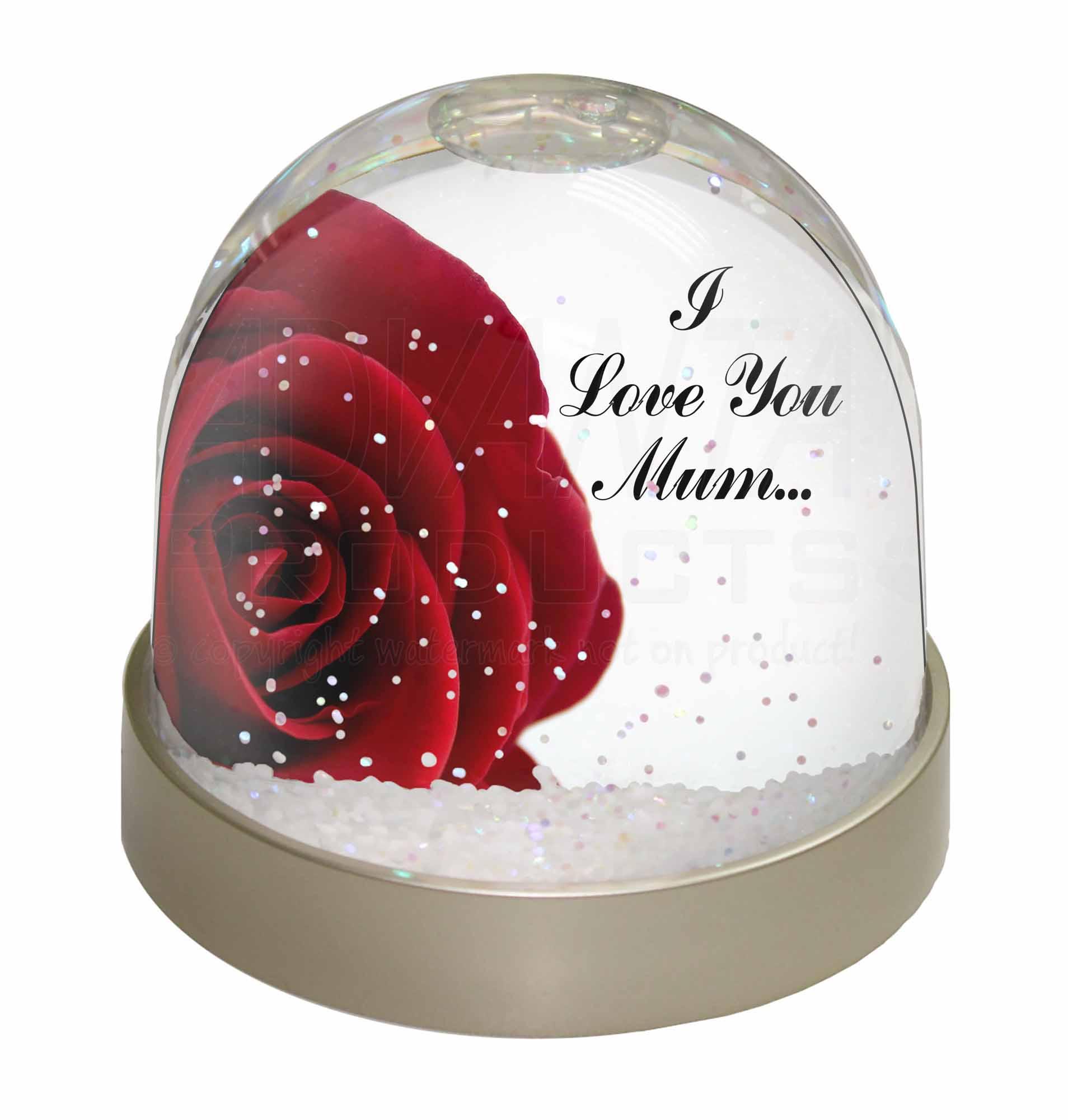 Red Rose \'I Love You Mum\' Snow Dome Globe Waterball Animal Christmas ...