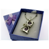 "Purple Amethyst Cat Necklace on 18"" Rhodium Plate Neck Chain"