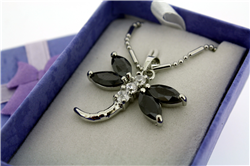 "Black Dragonfly Necklace on 18"" Rhodium Plate Neck Chain"