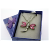 "Pink Dragonfly Necklace on 18"" Rhodium Plate Neck Chain"